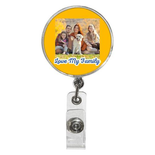 "Personalized badge reel personalized with photo and the saying ""Love My Family"""