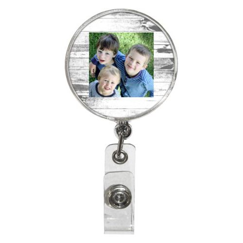 Personalized badge reel personalized with white rustic pattern and photo