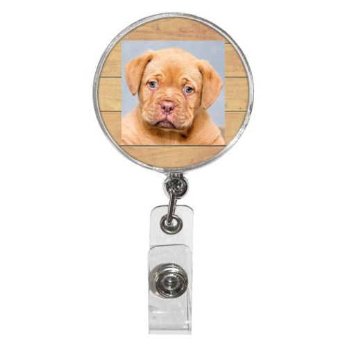 Personalized badge reel personalized with natural wood pattern and photo