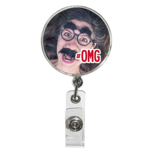 "Personalized badge reel personalized with photo and the saying ""#omg"""