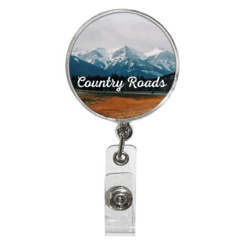 "Personalized badge reel personalized with photo and the saying ""Country Roads"""