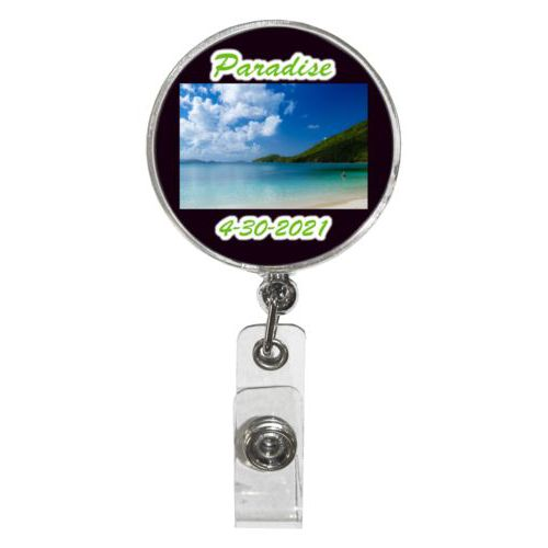 "Personalized badge reel personalized with photo and the sayings ""Paradise"" and ""4-30-2021"""