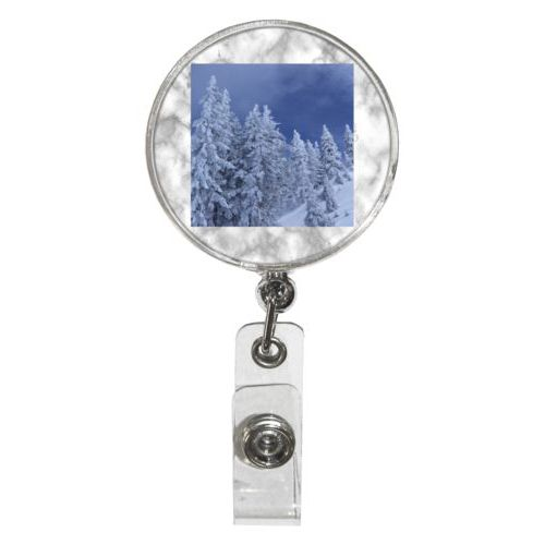Personalized badge reel personalized with grey marble pattern and photo