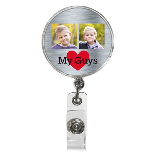 "Personalized badge reel personalized with steel industrial pattern and photo and the sayings ""heart"" and ""My Guys"""