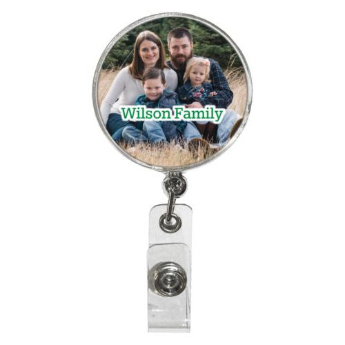 "Personalized badge reel personalized with photo and the saying ""Wilson Family"""