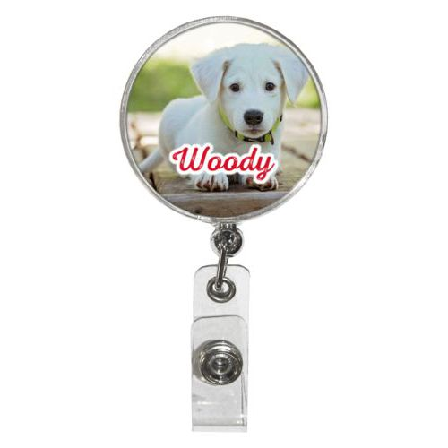 "Personalized badge reel personalized with photo and the saying ""Woody"""