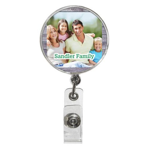 "Personalized badge reel personalized with grey wood pattern and photo and the saying ""Sandler Family"""