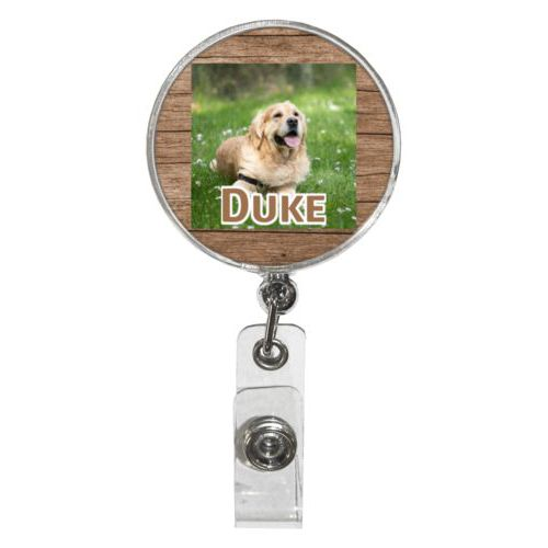"Personalized badge reel personalized with brown wood pattern and photo and the saying ""Duke"""