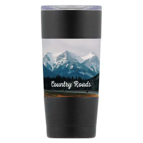 "Personalized insulated steel mug personalized with photo and the saying ""Country Roads"""