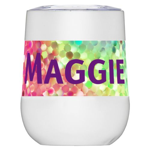 "Personalized insulated wine tumbler personalized with glitter pattern and the saying ""Maggie"""