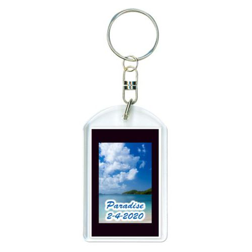 "Personalized keychain personalized with photo and the saying ""Paradise 2-4-2020"""