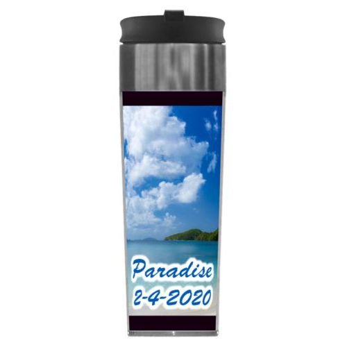 "Personalized steel mug personalized with photo and the saying ""Paradise 2-4-2020"""