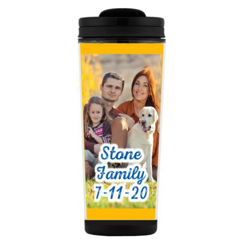 "Custom tall coffee mug personalized with photo and the saying ""Stone Family 7-11-20"""
