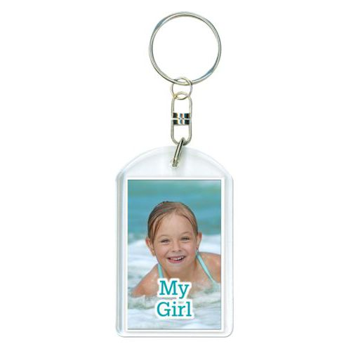 "Personalized keychain personalized with photo and the saying ""My Girl"""