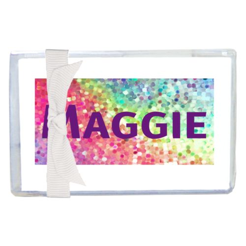 "Personalized enclosure cards personalized with glitter pattern and the saying ""Maggie"""