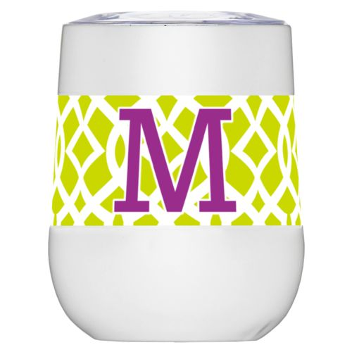 "Personalized insulated wine tumbler personalized with ironwork pattern and the saying ""M"""