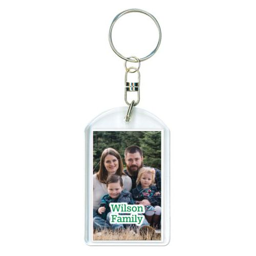 "Personalized plastic keychain personalized with photo and the saying ""Wilson Family"""
