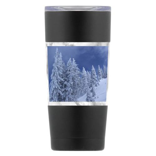 Personalized insulated steel mug personalized with grey marble pattern and photo