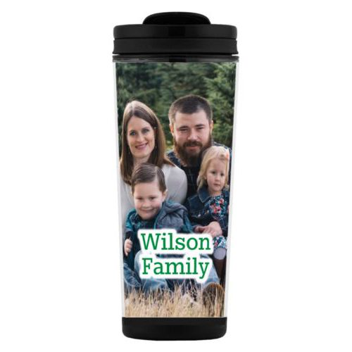 "Custom tall coffee mug personalized with photo and the saying ""Wilson Family"""