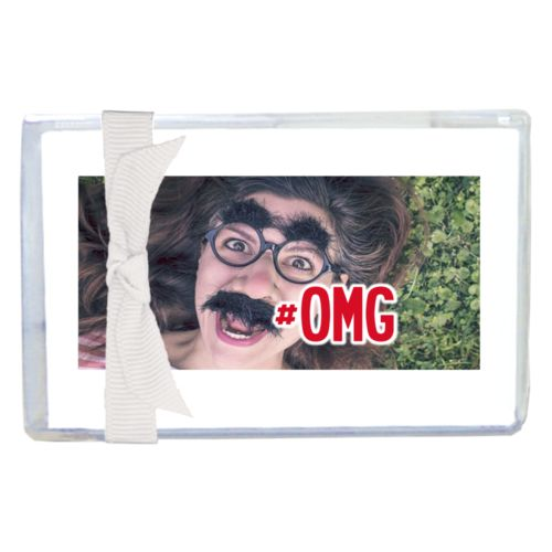 "Personalized enclosure cards personalized with photo and the saying ""#omg"""