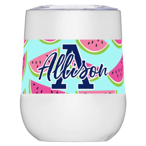 "Personalized insulated wine tumbler personalized with fruit watermelon pattern and the sayings ""A"" and ""Allison"""