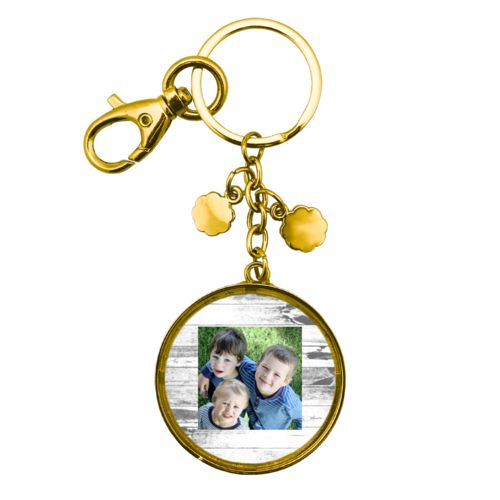 Personalized metal keychain personalized with white rustic pattern and photo