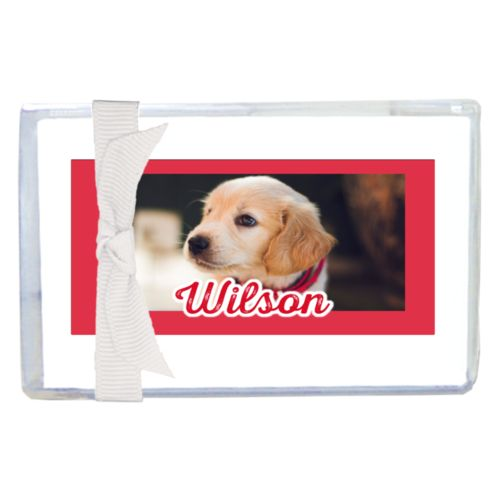 "Personalized enclosure cards personalized with photo and the saying ""Wilson"""
