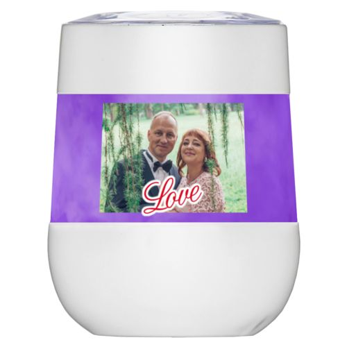 "Personalized insulated wine tumbler personalized with purple cloud pattern and photo and the saying ""love"""