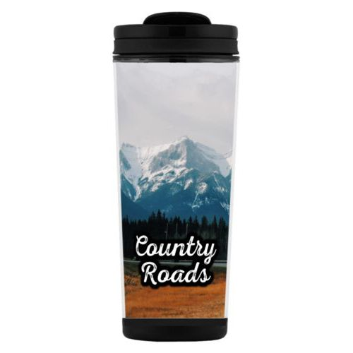 "Custom tall coffee mug personalized with photo and the saying ""Country Roads"""