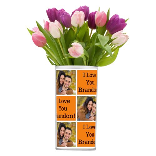 "Personalized vase personalized with a photo and the saying ""I Love You Brandon!"" in black and juicy orange"