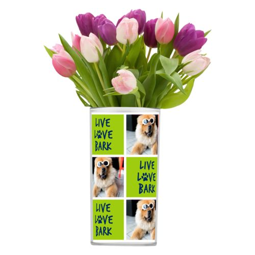 "Personalized vase personalized with a photo and the saying ""Live love bark"" in navy blue and juicy green"