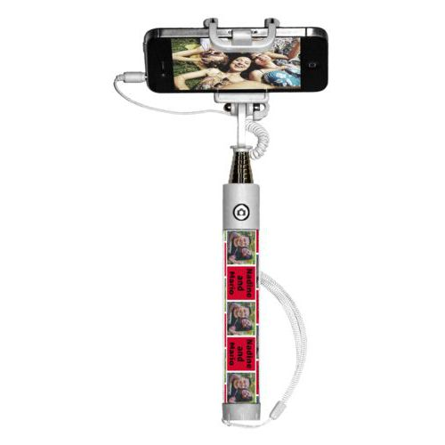 "Personalized selfie stick personalized with a photo and the saying ""Nadine and Mario"" in black and apple red"