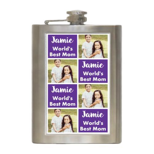 "Personalized 8oz flask personalized with a photo and the saying ""Jamie World's Best Mom"" in purple and white"