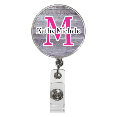 "Personalized badge reel personalized with grey wood pattern and the sayings ""M"" and ""Kathy Michele"""