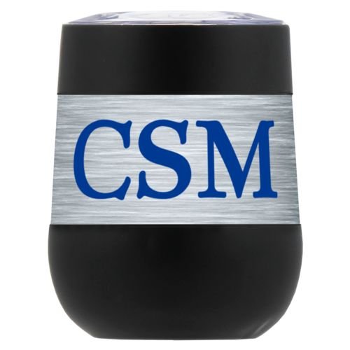 "Personalized insulated wine tumbler personalized with steel industrial pattern and the saying ""CSM"""