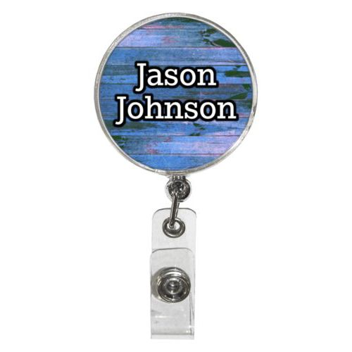 "Personalized badge reel personalized with sky rustic pattern and the saying ""Jason Johnson"""