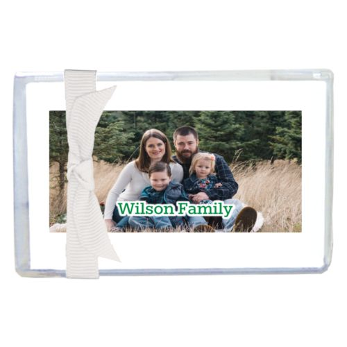 "Personalized enclosure cards personalized with photo and the saying ""Wilson Family"""