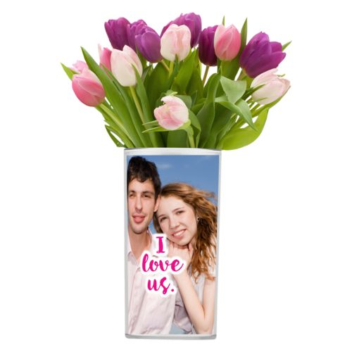 "Personalized vase personalized with photo and the saying ""I love us"""