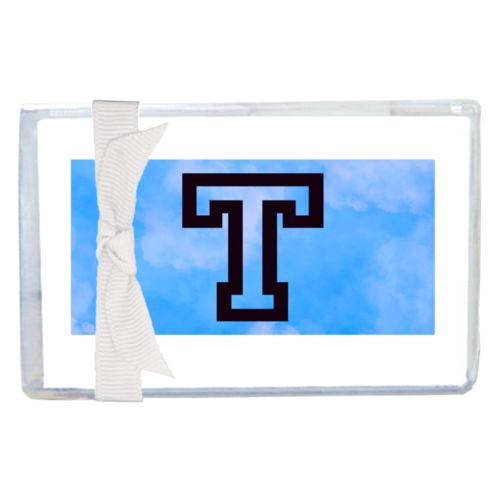 "Personalized enclosure cards personalized with light blue cloud pattern and the saying ""T"""
