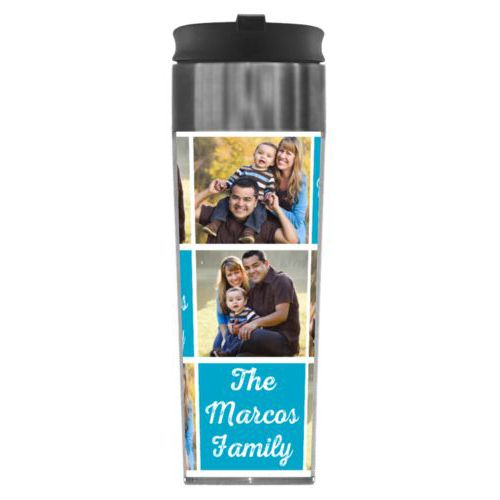 "Personalized steel mug personalized with photos and the saying ""The Marcos Family"" in juicy blue and white"