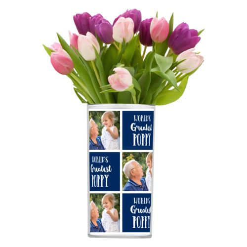 "Personalized vase personalized with a photo and the saying ""World's Greatest Poppy"" in navy blue and white"