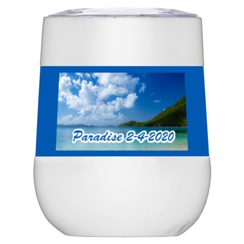 "Personalized insulated wine tumbler personalized with photo and the saying ""Paradise 2-4-2020"""