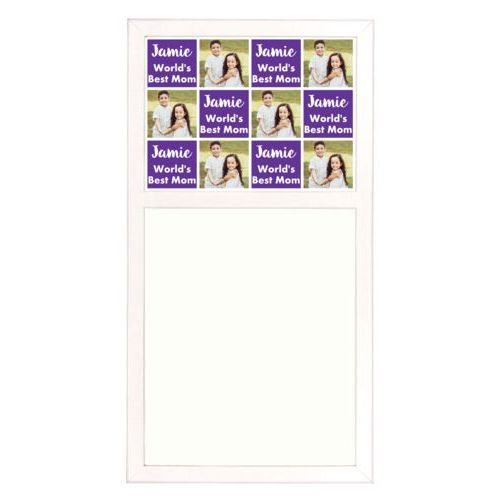 "Personalized white board personalized with a photo and the saying ""Jamie World's Best Mom"" in purple and white"