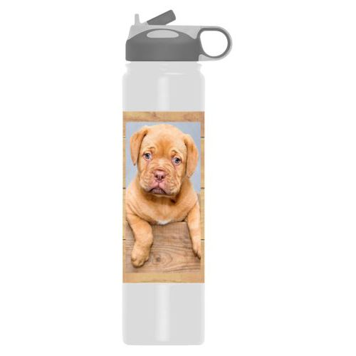 Insulated water bottle personalized with natural wood pattern and photo