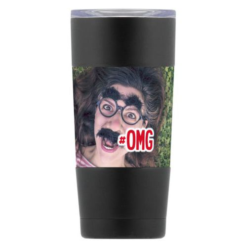 "Personalized insulated steel mug personalized with photo and the saying ""#omg"""