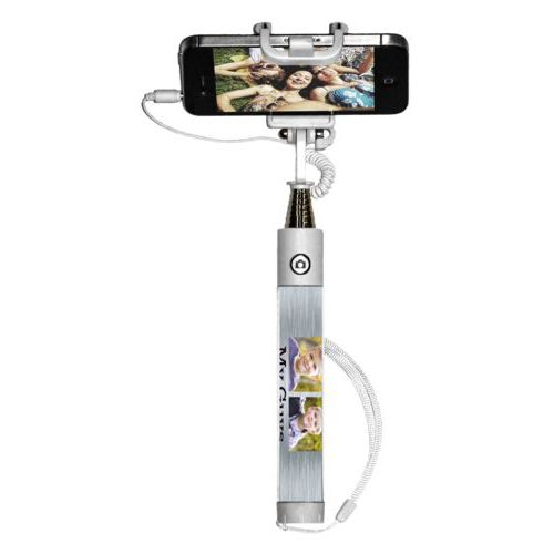 "Personalized selfie stick personalized with steel industrial pattern and photo and the saying ""My Guys"""