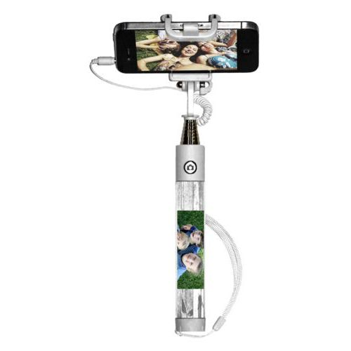 Personalized selfie stick personalized with white rustic pattern and photo