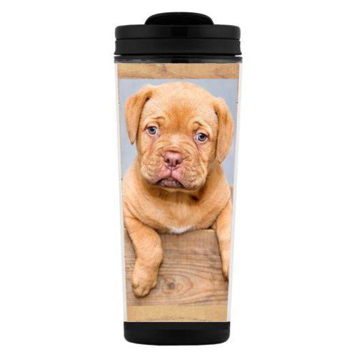 Custom tall coffee mug personalized with natural wood pattern and photo
