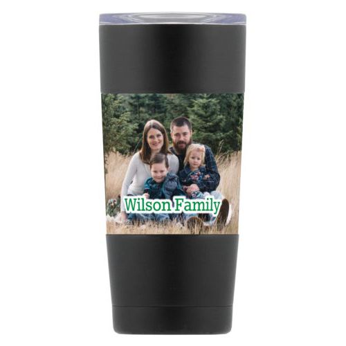 "Personalized insulated steel mug personalized with photo and the saying ""Wilson Family"""