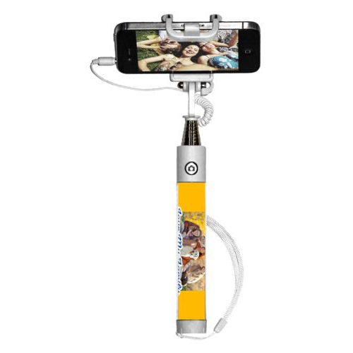 "Personalized selfie stick personalized with photo and the saying ""Love My Family"""